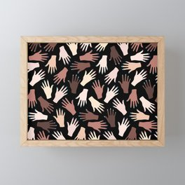 Nail Expert Studio - Colorful Manicured Hands Pattern on Black Background Framed Mini Art Print