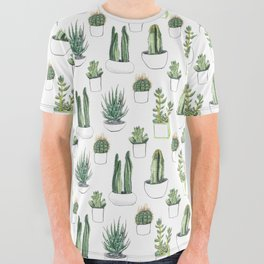 Watercolour Cacti & Succulents All Over Graphic Tee