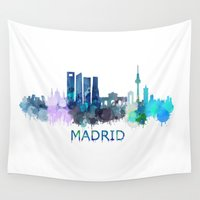 madrid Wall Tapestries featuring Madrid City Skyline HQ  by HQPhoto