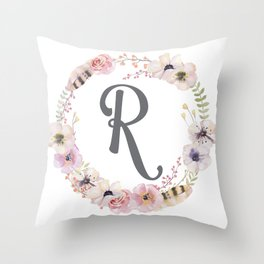Floral Wreath - R Throw Pillow