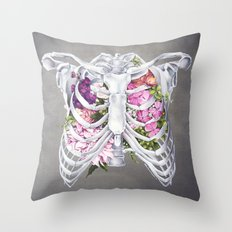 Floral Ribcage Throw Pillow