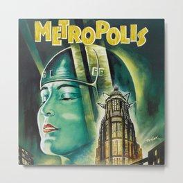 Vintage 1926 'Metropolis' Lobby Card Movie Film Poster by Fritz Lang Metal Print