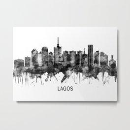 Lagos Nigeria Skyline BW Metal Print
