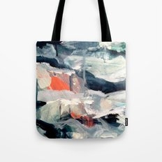 Eye of the Storm [2] - abstract mixed media piece in blues, white, and red Tote Bag
