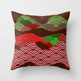 scales simple Nature background with japanese wave circle pattern dark brown burgundy maroon green Throw Pillow