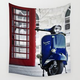 Classic Blue Vespa Wall Tapestry