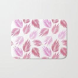 Tropical areca palms pattern in red Bath Mat