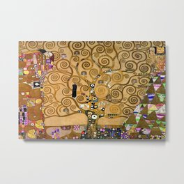 The Kiss, Afternoon, No. 3, Red Poppies, and The Tree of Life portrait painting by Gustav Klimt Metal Print