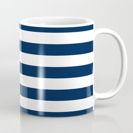 Slate Blue and White Stripes  - Navy Nautical Pattern Coffee Mug