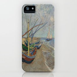 Fishing Boats on the Beach at Saintes-Maries - Vincent Van Gogh iPhone Case