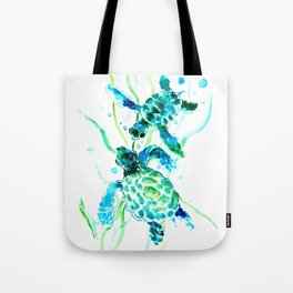Sea Turtles, Turquoise blue Design Tote Bag