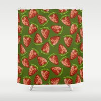 strawberry Shower Curtains featuring Strawberry by Julia Badeeva
