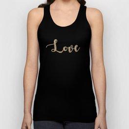love gold glitter on black Unisex Tank Top