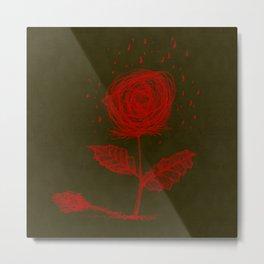 Lines Rose Metal Print