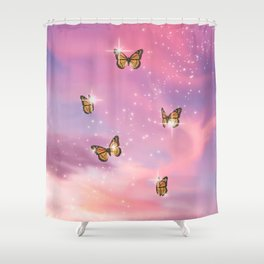 Pink Butterfly Dream Shower Curtain