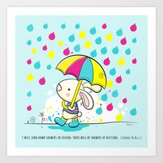 Rain Rabbit ezekiel 34:26 Art Print