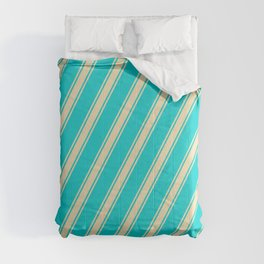 Dark Turquoise and Tan Colored Lines Pattern Comforters