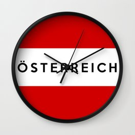 austria country flag osterreich german name text Wall Clock