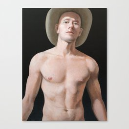 Young man with cowboy hat. Canvas Print