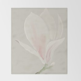 Botanical Brushstrokes ● Magnolia Blossom Throw Blanket