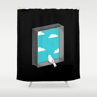 ilovedoodle Shower Curtains featuring Every book a window by I Love Doodle