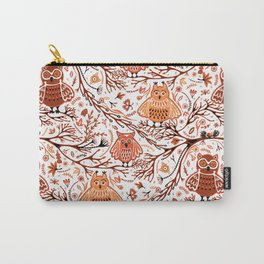 Cute Owls in Fall on Tree Branches Carry-All Pouch