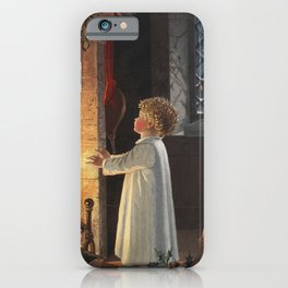 Christmas card depicting a fireplace stockings and a child from The Miriam and Ira D Wallach Divisio iPhone Case