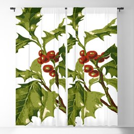 Holly Christmas Red Berry Blackout Curtain