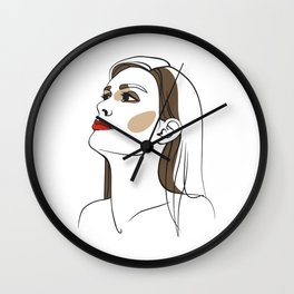 Woman with long hair and red lipstick. Abstract face. Fashion illustration Wall Clock