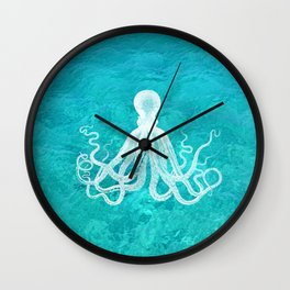 Nautical Decor - Octopus in the Clear Turquoise Water Wall Clock