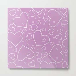 Lavender and White Hand Drawn Hearts Pattern Metal Print