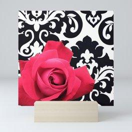 Pink Rose Black & White Large Damask Mini Art Print