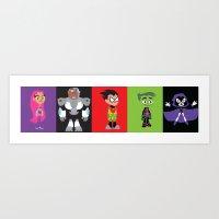 teen titans Art Prints featuring Teen Titans Go by Adrian Mentus