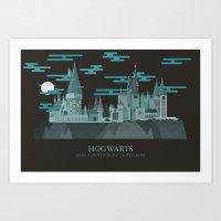hogwarts Art Prints featuring Hogwarts  by PENLEY DESIGNS