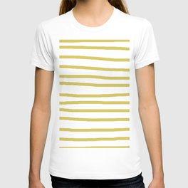 Simply Drawn Stripes Mod Yellow on White T-shirt