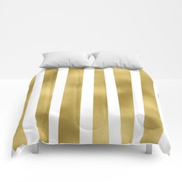 Gold unequal stripes on clear white - vertical pattern Comforters