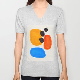 Minimalist Modern Mid Century Colorful Abstract Shapes Primary Colors Yellow Orange Blue Bubbles Unisex V-Neck