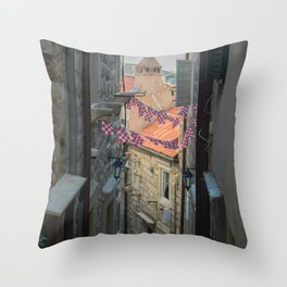 Old streets of old city in south of Croatia, Dubrovnik Throw Pillow
