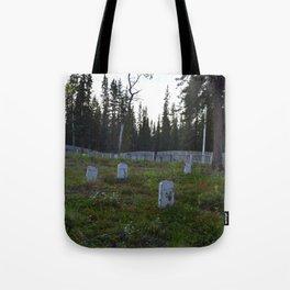 Wooden Headstones in old Alaskan Graveyard Tote Bag