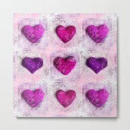 Pink Passion colorful heart pattern Metal Print