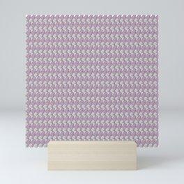 Pink and gray kittens snuggle pattern Mini Art Print