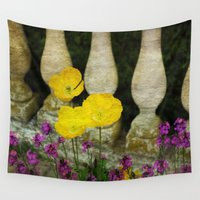 concrete Wall Tapestries featuring Concrete Flowers by BeachStudio