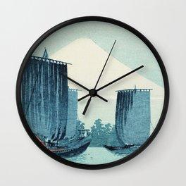 Japanese Sailboats and Mount Fuji Wall Clock