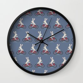 Bunny riding bike Wall Clock