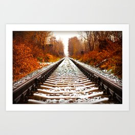 Autumn Forest Train Tracks Art Print