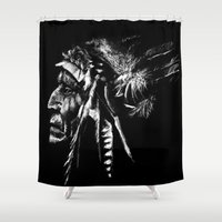 native american Shower Curtains featuring Native American by Sandy Elizabeth