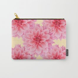 PINK DAHLIA FLOWERS IN YELLOW-GREY Carry-All Pouch