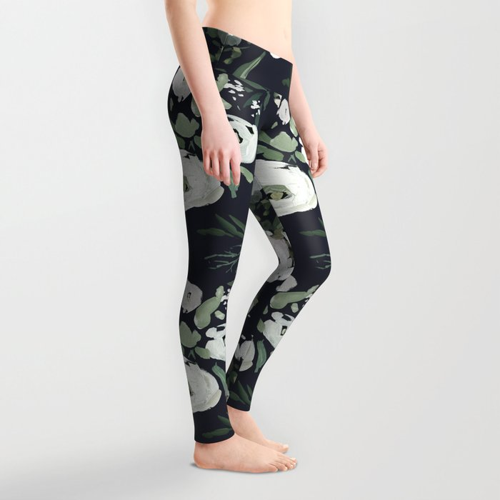 Blush pink white green black watercolor modern floral Leggings
