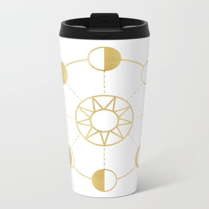 Gold Moon and Sun Phases Metal Travel Mug