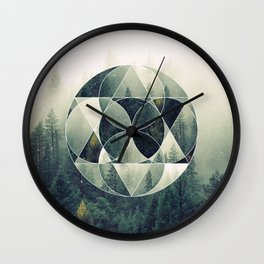Geometric Forest Wall Clock
